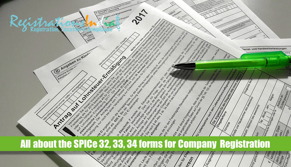SPICe 32, 33, 34 forms for Company Registration